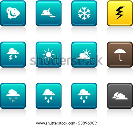 Weather set of square color icons.