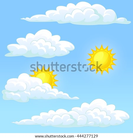 Weather set white clouds and the yellow sun on a blue background. Vector cartoon illustration.