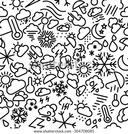 Weather Sketchy Seamless Outline Icon Pattern