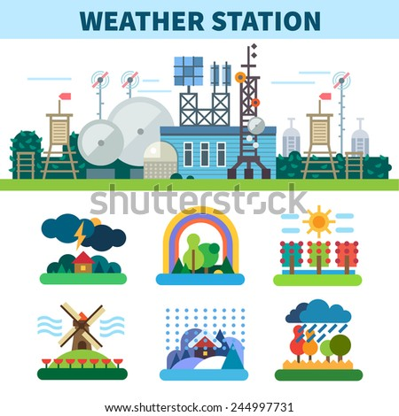 Weather station. Seasons. Rain, wind, storm, sun, clouds, snow, fog. Vector flat illustrations - stock vector