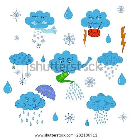 Weather symbol. Set of cartoon clouds.Rain cloud, thunder cloud, snow cloud, thunder and lightning - stock vector