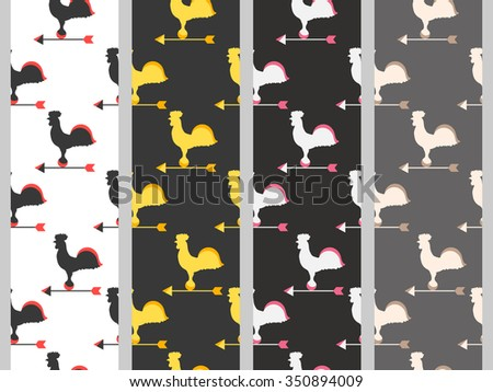 Weather vane rooster. Seamless pattern. - stock vector