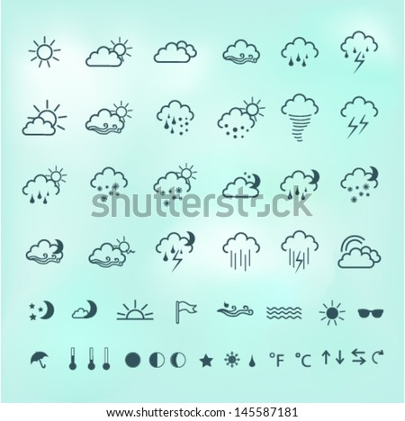 Weather vector icon set - stock vector