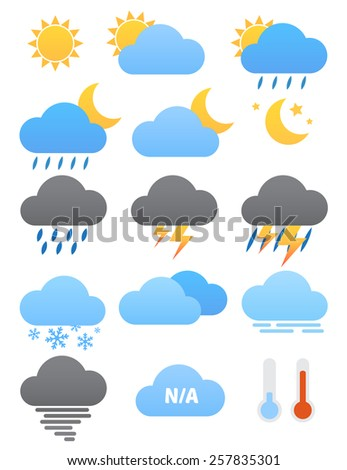 weather vector icons, flat design - stock vector