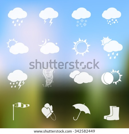 Weather vector icons on blurred background - stock vector