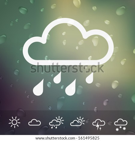 Weather Vector Icons on blurred Water drops background. Isolated from background. Each icon in separately folder. - stock vector