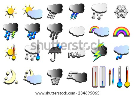 Weather vectors. Snow, wind and rain weather map icons.  - stock vector