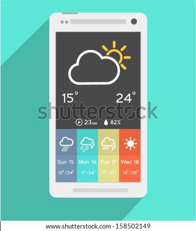 Weather Widget in flat design - stock vector