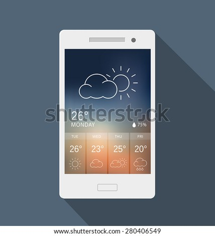 Weather widget on a mobile phone. Can be used as a design for an application or to illustrate possible use of a mobile phone. - stock vector