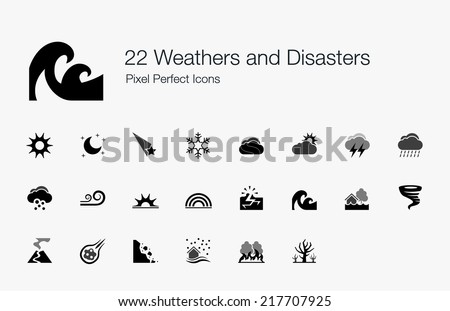 Weathers and Disasters Pixel Perfect Icons - stock vector