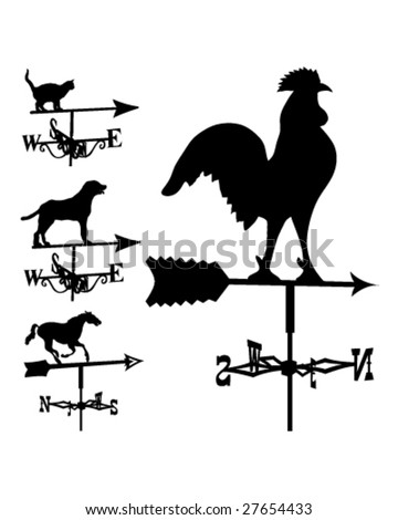 Weathervanes and lightning rods in vector silhouette - stock vector