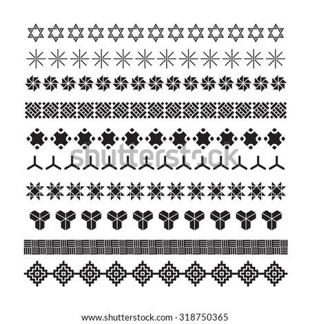 Weave frame ornament,lattice, pattern brush ,korean, chinese, japanese vector set - stock vector