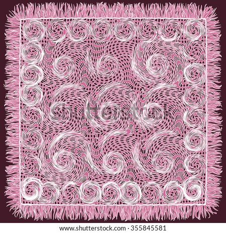 Weave lace grunge striped and swirled serviette with fringe in violet and white colors isolated on purple background - stock vector