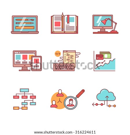 Web and app development, programming and project management icons thin line set. Design process, working desk, prototyping and mockups. Flat style color vector symbols isolated on white. - stock vector