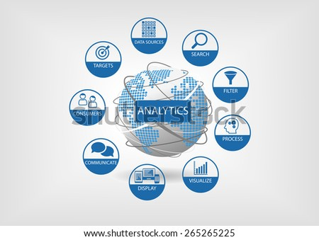 Web and data analytics vector illustration with globe and dotted world map. Analytics components such as search, filter, visualization, communication - stock vector