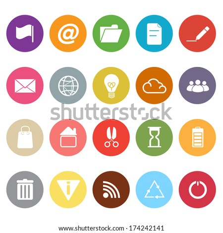 Web and internet flat icons on white background, stock vector