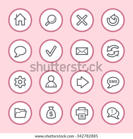 Web and internet, home and search, folder and print, arrows and recycling, web vector icons set - stock vector