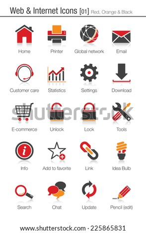 Web and internet icons 01 (red, orange and black) - stock vector