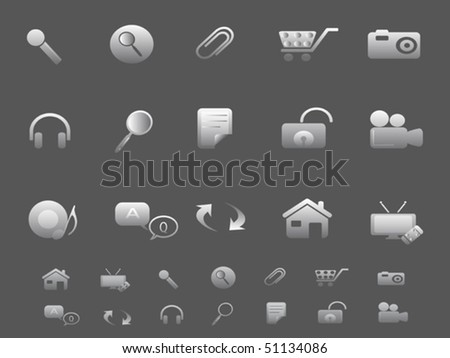 Web and Internet icons set in gray