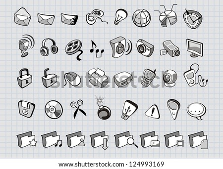 web and media icons - stock vector