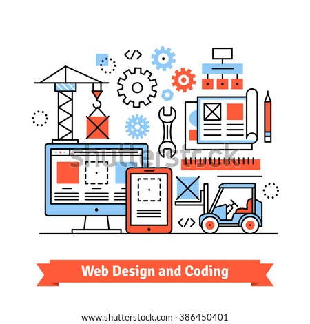 Web and mobile app designing and coding concept. Flat style line art illustration.  - stock vector