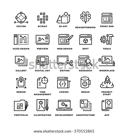 Web and mobile apps development line vector icons. 3d art icon, brainstorming development design ui, web soft app,  digital app mobile illustration - stock vector