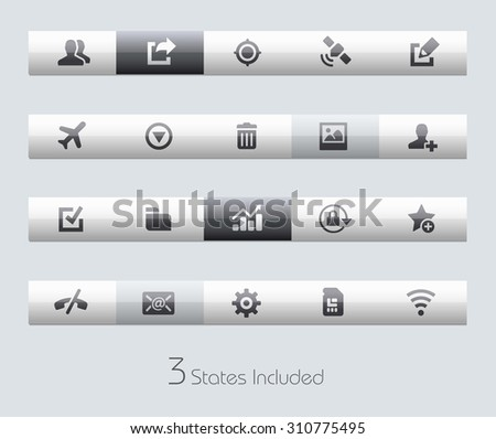 Web and Mobile 2 // Classic Bars +++ The vector file includes 3 buttons states in different layers. +++ - stock vector