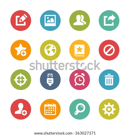 Web and Mobile Icons 2 // Fresh Colors Series ++ Icons and buttons in different layers, easy to change colors ++ - stock vector