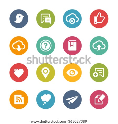 Web and Mobile Icons 8 // Fresh Colors Series ++ Icons and buttons in different layers, easy to change colors ++ - stock vector