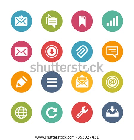 Web and Mobile Icons 9 // Fresh Colors Series ++ Icons and buttons in different layers, easy to change colors ++ - stock vector