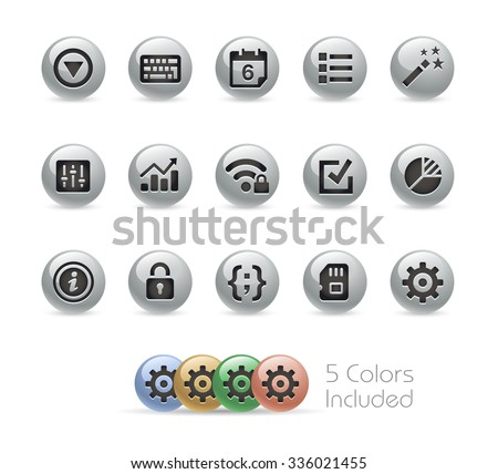 Web and Mobile Icons 4 // Metal Round Series -- The vector file includes 5 color versions for each icon in different layers. - stock vector