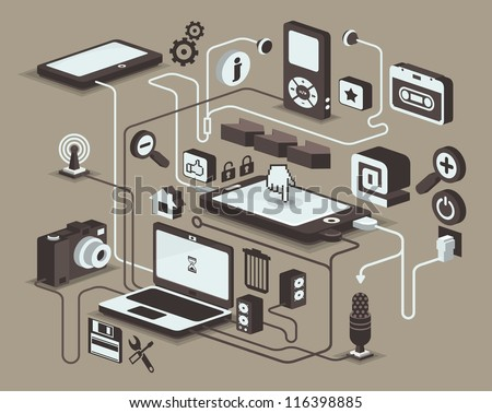 web and social media icons, vector elements, - stock vector