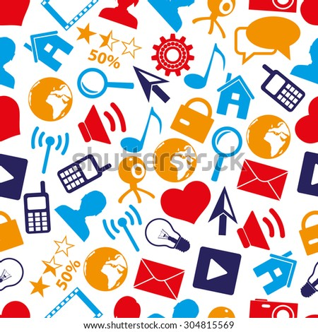 web and social networks simple color icons seamless pattern eps10