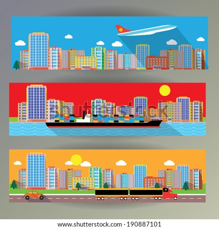 web banner city and transportation - stock vector