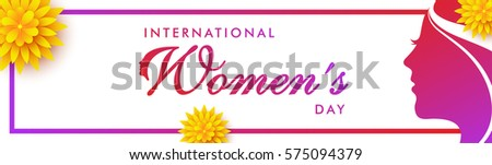 Web banner for International Women's Day with pink silhouette of a girl face.