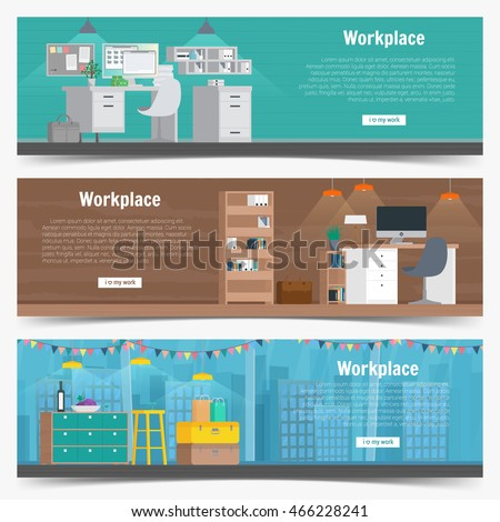 Corporate office building infographics business people for Interior design banner images