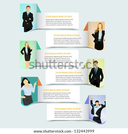 Web banner template design with business people - stock vector