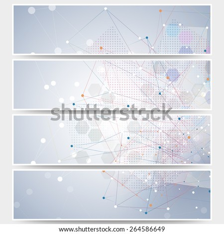 Web banners set, molecular design header layout templates. Molecule structure, blue background for communication, science vector illustration - stock vector