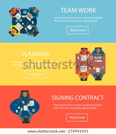 Web banners set with top view of desks with sitting people,  checking reports, brainstorming, signing contract. Teamwork concept. Design elements laptops, mobile phones, pen, coffee mug, documents  - stock vector