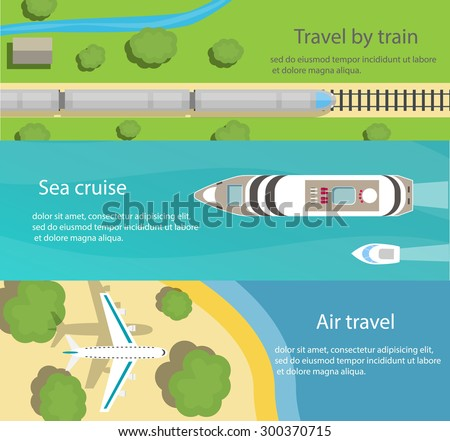 Web banners with top view of train, ship, plane, flat vector icons. Travel and delivery concepts, vector illustration - stock vector