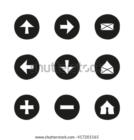 Web black flat icons set. Hand-drawn round buttons. Isolated. Vector illustration. Arrows, Letters, Home, Plus, Minus - stock vector