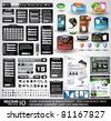 Web Black Stuff EXTREME Collection: 3 Full websites,hundreds of icons,headers,footers,login forms, paper tag with transparent shadow,stickers,business cards and so on - stock vector