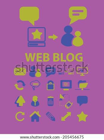 web blog icons, signs, symbols set, vector - stock vector