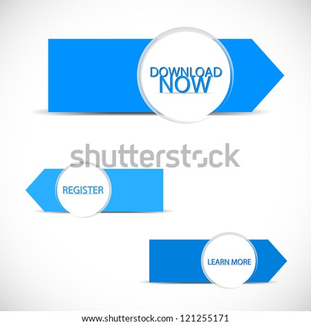 Web blue buttons - stock vector