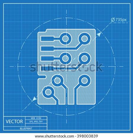 Web blueprint icon of microchip, vector design  - stock vector
