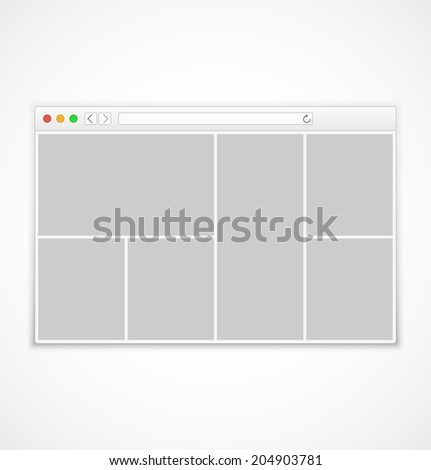 Web browser window with abstract content on white background in flat style. Vector illustration - stock vector