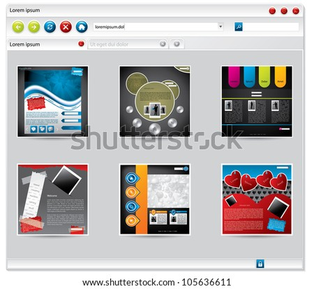 Web browser with startup items or bookmarks tiled - stock vector