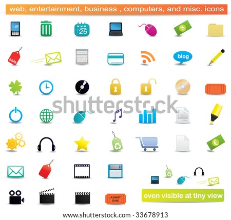 Web, business, entertainment, business, computers, education and misc. icons - stock vector