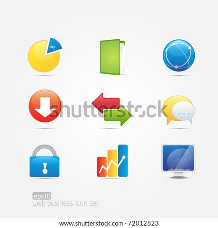 Web Business Icon Set of 9 icons - stock vector