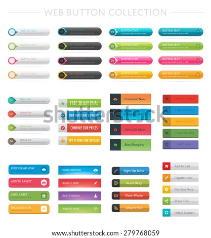 Web Button Collection - stock vector